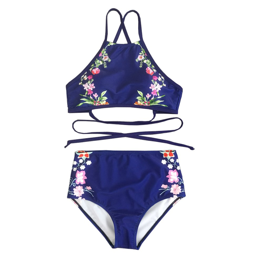 2dc969cee9 Sexy Straps Cross Bandage Backless Swimsuit Two Piece Support:Wire  Free,Lightly Padded,Crop Top,High Waisted Bikini Set Bathing Suit