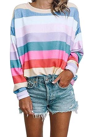 d125f4095e0183 Women Long Sleeve Tops - Oversized Rainbow Striped Tunics Blouses T Shirt  Pullover Sweatshirt at Amazon Women s Clothing store