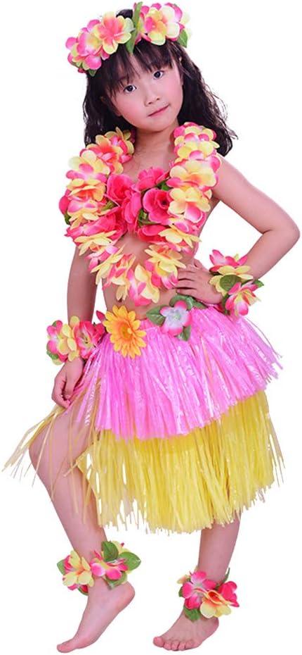 Amosfun 8PCS Disfraz Hawaiana niña Falda Hula Diadema de Flores ...