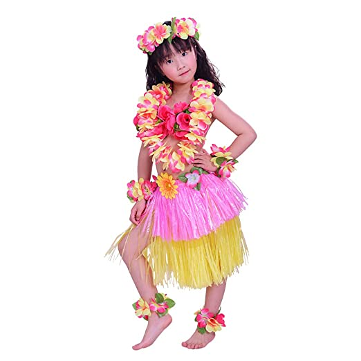 Amosfun 8PCS Disfraz Hawaiana niña Falda Hula Diadema de ...