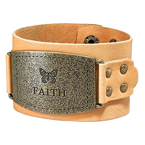 [Ladies Leather Christian Cuff Wristband w/