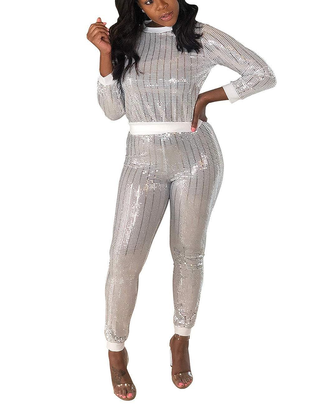 4 White Kafiloe Women 2 Piece Outfits Clubwear Bodycon Sequin Jumpsuit Set Crop Top Pants Suit