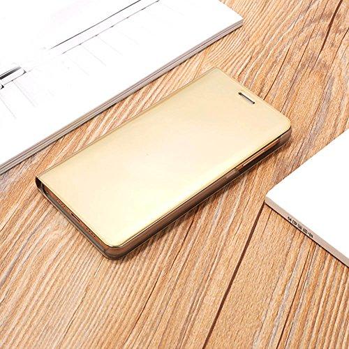 Funda Samsung Galaxy J7 Max, Visión Clara Pie Smart Cover Soporte Mirror Protección Completa Rígida Borde ,Sunroyal Multifuncional Cubierta del espejo Permite ver Claramente la Clear Standing Flip Cov Oro