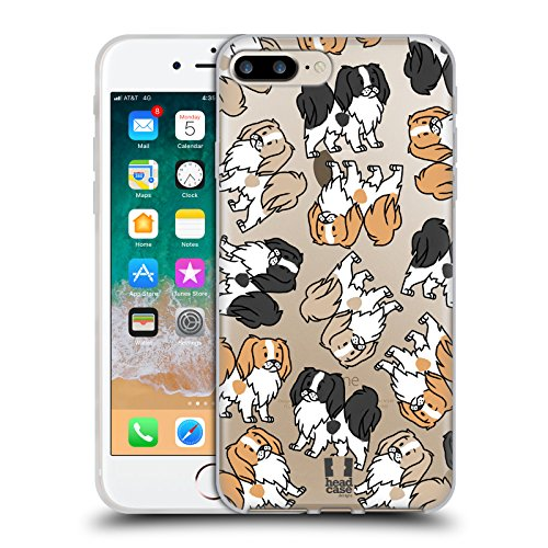 Head Case Designs Japanese Chin Dog Breed Patterns 12 Soft Gel Case for Apple iPhone 7 Plus/iPhone 8 Plus