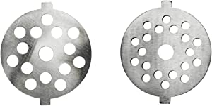 "Univen .175"" Fine and .25"" Coarse Plate Discs fits KitchenAid FGA Food Meat Grinder Chopper Attachment"