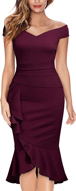 Off Shoulder V-Neck Ruffle Pleat Waist Bodycon Evening Cocktail Slit Formal Dress