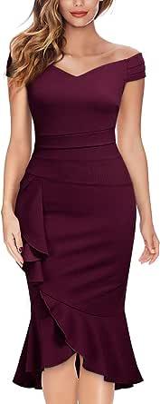 Knitee Women's Off Shoulder V-Neck Ruffle Pleat Waist Bodycon Evening Cocktail Slit Formal Dress