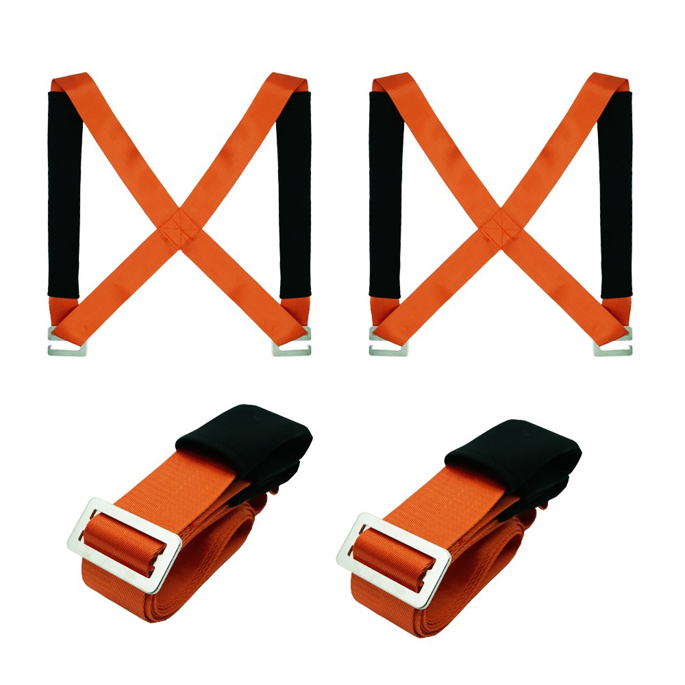 TGY Lifting Moving Straps Carrying Belt Max Load 350 Pound Easy Carry Furniture, Appliances, Mattresses, or any Heavy Object 2 Person Moving Tool Orange
