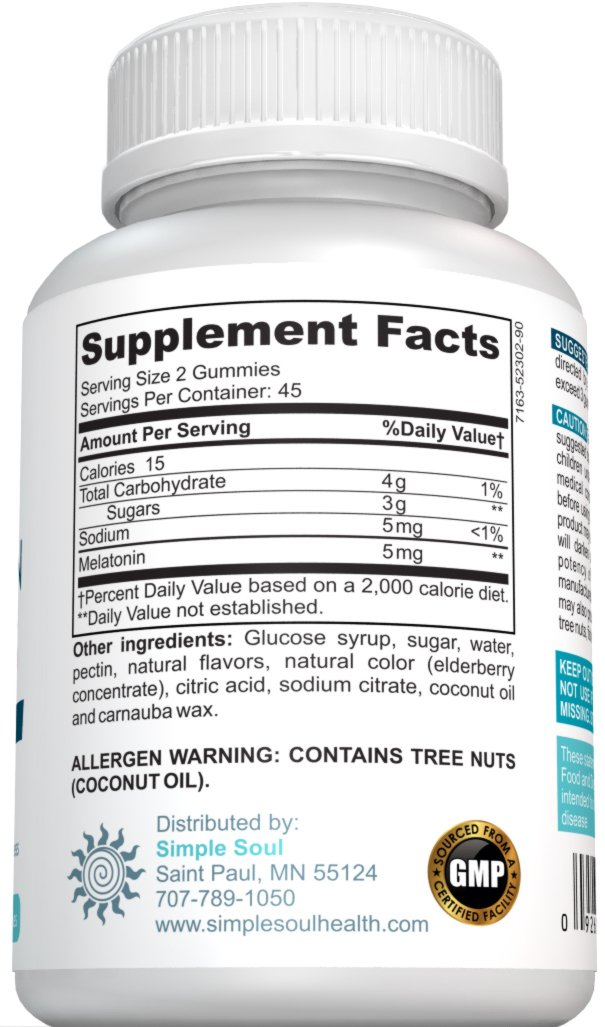 Amazon.com: Simple Soul Melatonin Gummies Gluten Free Strawberry 90 Count: Health & Personal Care