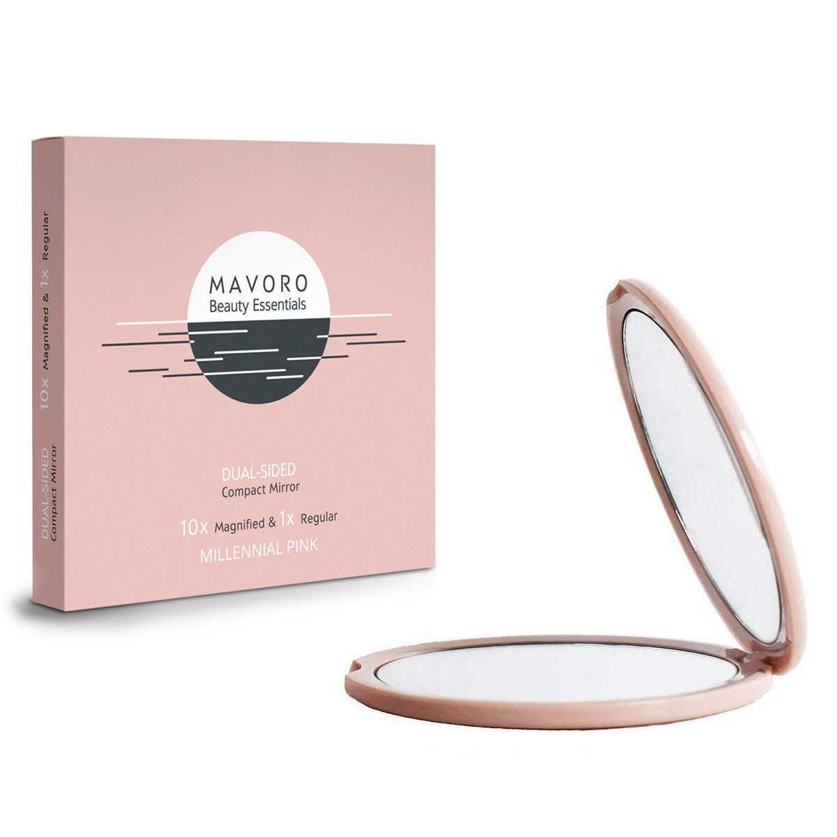 Magnifying Compact Mirror 10X Magnification - 1X Mirror 2-sided, 4 inch Handheld Magnified MakeUp Mirror for Purses And Travel, Mavoro Beauty Essentials (Millennial Pink)