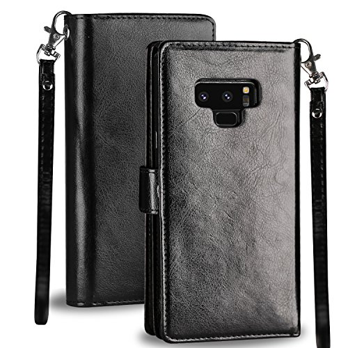 Galaxy Note 9 Case, Pasonomi Note 9 Wallet Case with Detachable SlimCase - [Folio Style] PU Leather Wallet case with ID&Card Holder Slot Wrist Strap for Samsung Galaxy Note 9 (Black) by PASONOMI (Image #6)