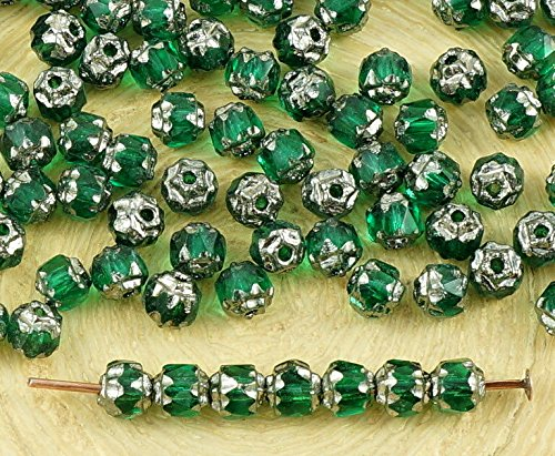 50pcs Crystal Emerald Green Metallic Silver Czech Glass Cathedral Faceted Fire Polished Beads Christmas 4mm