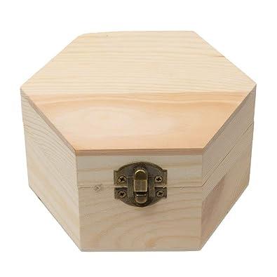 Ndier - Caja de Regalo de Madera sin terminar para Manualidades, Diseño de Barro: Amazon.es: Joyería