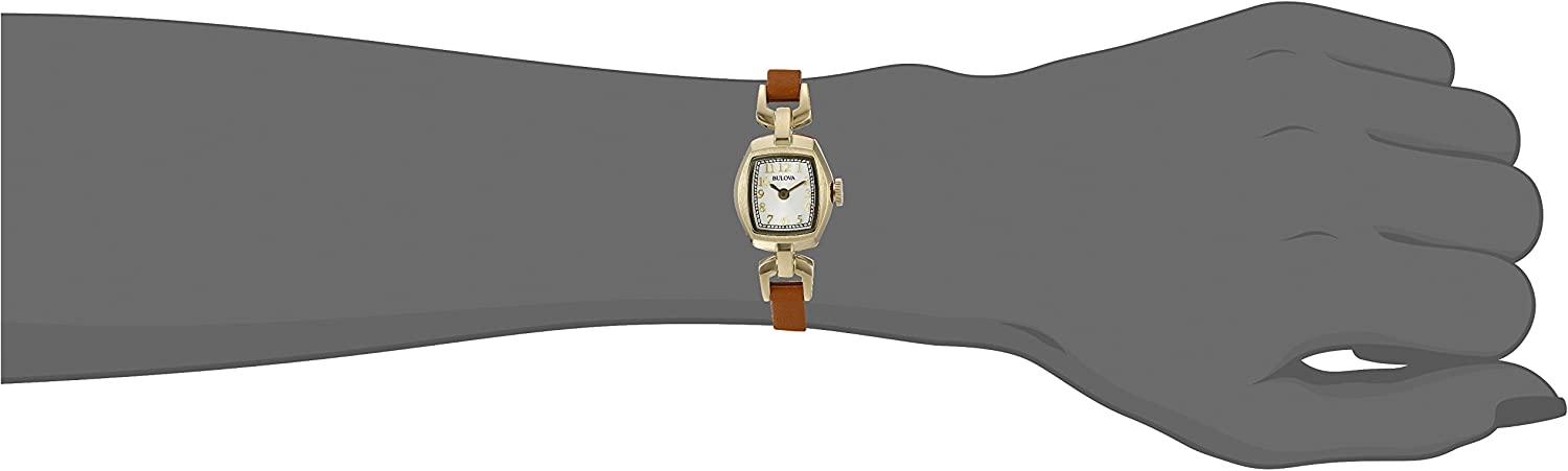 Bulova Women s Quartz Stainless Steel and Brown Leather Dress Watch Model 97L153
