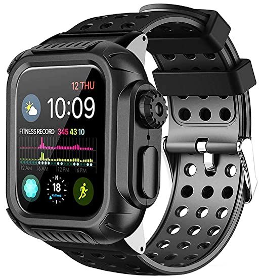 super popular 58eb5 0ac91 Lilycase Compatible with Apple Watch Band 44mm 40mm with Case,Shockproof  Rugged Protective Cover and Bands Stainless Steel Clasp with Built-in  Screen ...