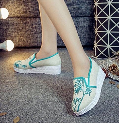 Avacostume Damesschoenen Borduurwerk Loafer Instappers Groen