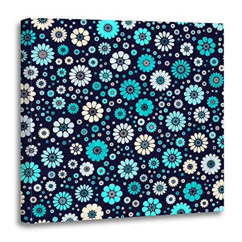 (Emvency Canvas Wall Art Print Colorful Dusty Aqua Sky Blue Ivory Spot Flower on Dark Navy Mid Century Mod Abstract Floral Geometric Artwork for Home Decor 12 x 12 Inches)