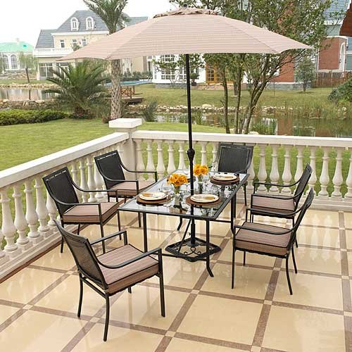 Amazon.com : Braddock Heights 7 Piece Patio Dining Set, Seats 6 : Patio,  Lawn U0026 Garden