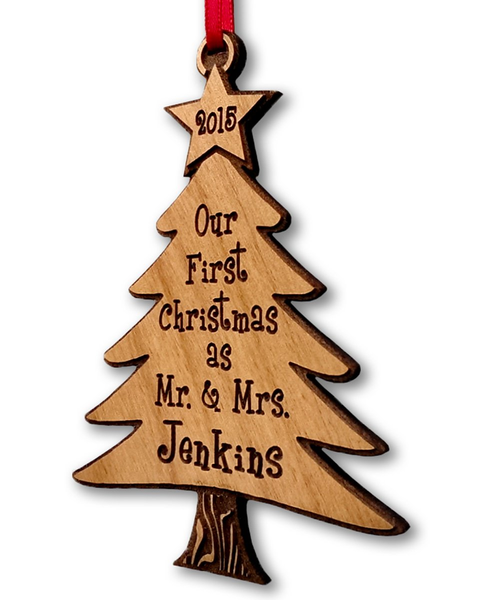 Our First Christmas As Mr and Mrs Tree Ornament Personalized 2014 Christmas Tree Laser Engraved Wood Newlywed Just Married Couple Wedding Gift