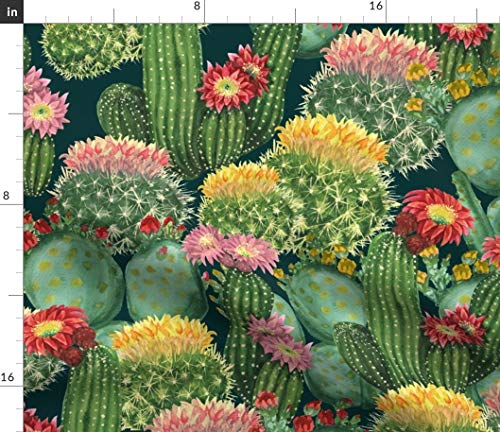 Cacti Collection Fabric - Watercolor Botanical Floral Flower Summer Tropical Watercolor Cactus Cacti Botanical Print by Svetlana Prikhnenko Printed on Minky Fabric by The Yard