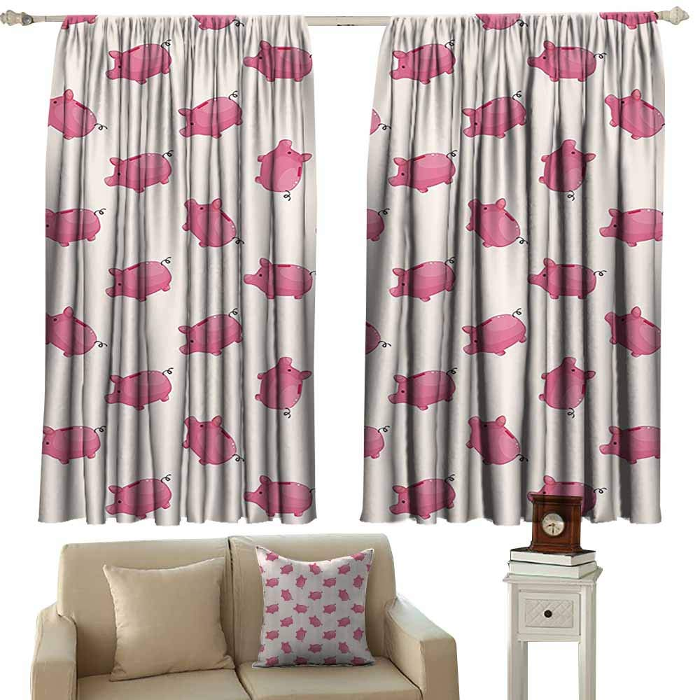 cashewii Pig Decor Collection Kids Room Curtains Piggy Bank Pattern Money Wealth Luck Symbols Fun Design Artwork Noise Reducing 72'' Wx63 L Pink and White by cashewii
