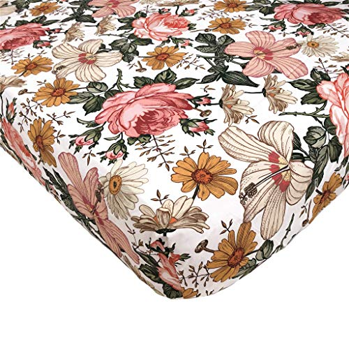 Mini Scout Garden Floral White Woven Cotton Fitted Crib Sheet For Baby Nursery Bedding Inspiration Infant Bassinet Mattress Cover Toddler Mattress Bed