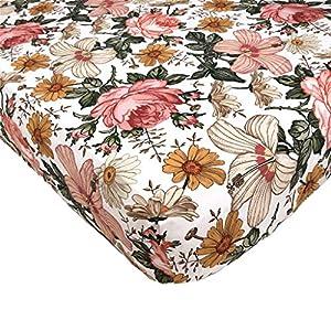 Garden Floral – Woven Cotton Fitted Crib Sheet for Baby Nursery Bedding Inspiration, Infant Bassinet Mattress Cover, Toddler Mattress Bed for Newborn Girls