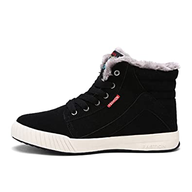 Amazon.com | VILOCY Men's Warm Suede Leather Snow Boot Fur Lined ...