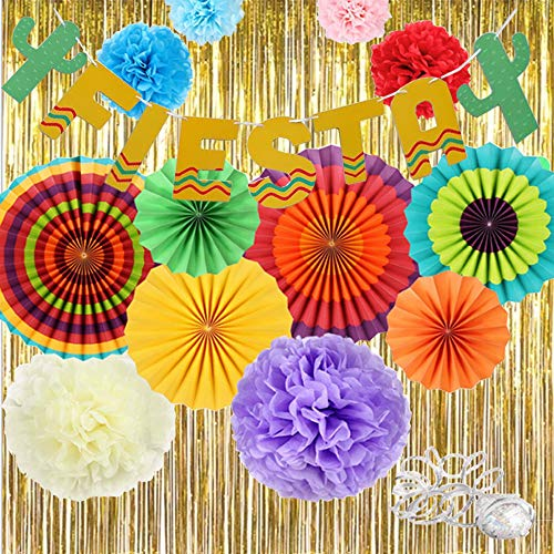fiesta decorations gold fringe streamers backdrop ceiling hanging tissue flowers paper fans cacti garlands fiesta banner mexican photo booth props kit table and wall party supplie for birthday wedding -