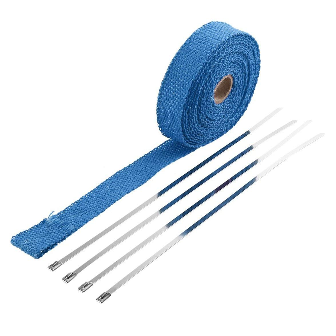 Kongqiabona Incombustible Collecteur Turbo Isolation É chappement Ruban Wrap Tape Thermique Zip Inoxydable Voitures Motos (Bleu)