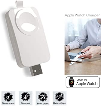 MASOMRUN Apple Watch Cargador Portatil,Cargador USB Portátil Compatible con Apple WatchiWatch, Apple Watch Charger inalámbrico magnético Compatible