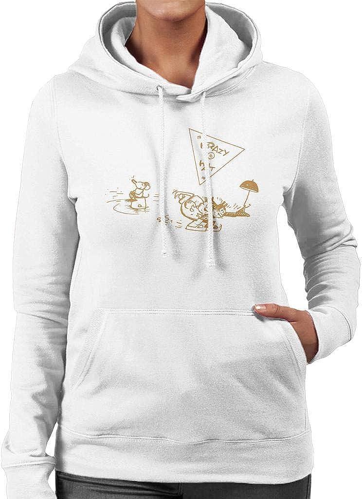Krazy Kat Ice Skating Umbrella Womens Hooded Sweatshirt