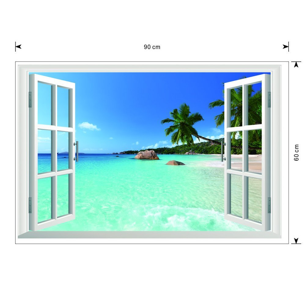 Amazon removable beach sea 3d window view scenery wall amazon removable beach sea 3d window view scenery wall sticker decor decal baby amipublicfo Gallery