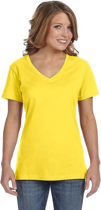 377ec2ed261 Amazon.com  Anvil Womens Sheer V Neck Tee   T-Shirt (XS) (Lemon Zest ...