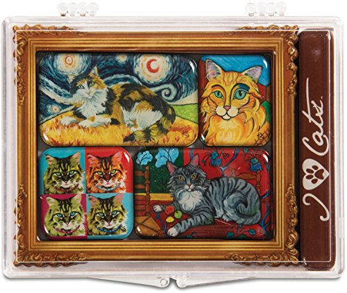 Pavilion Gift Company 12001 Paw Palettes 6-Piece Mini Masterpiece Magnet Set, 4 by 3-1/2-Inch, Long Hair Cats (Palette Magnet Artists)