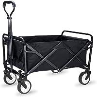 WHITSUNDAY Collapsible Folding Garden Outdoor Park Utility Wagon Picnic Camping Cart (Compact Size, Black)