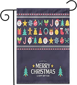"""Awowee 28""""x40"""" Garden Flag Red Tree Flat Christmas Ball Bell Candy Celebration Cute December Outdoor Home Decor Double Sided Yard Flags Banner for Patio Lawn"""