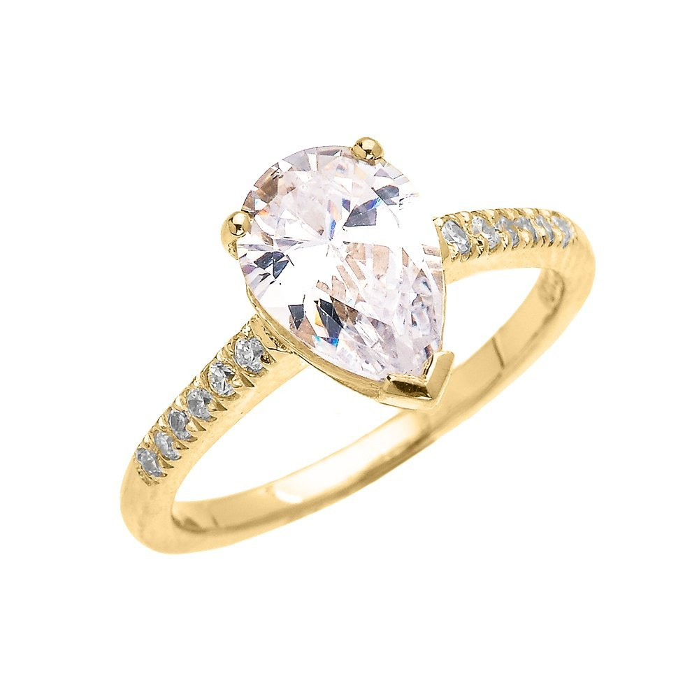 14k Yellow Gold 3 Carat CZ Pear Shape Proposal Engagement Ring(Size 6)