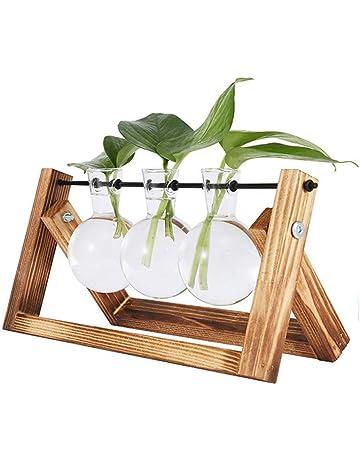 Doolland jarrón de bulbos de Plantas con Soporte de Madera Maciza Retro y Soporte de Varilla