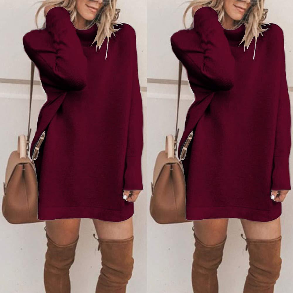 Winter Mode Frauen Fester Rollkragen Strickjacken Langes Beil/äufiges Langes H/ülsen Pullover Kleid Sunday Pulli Kleid Damen