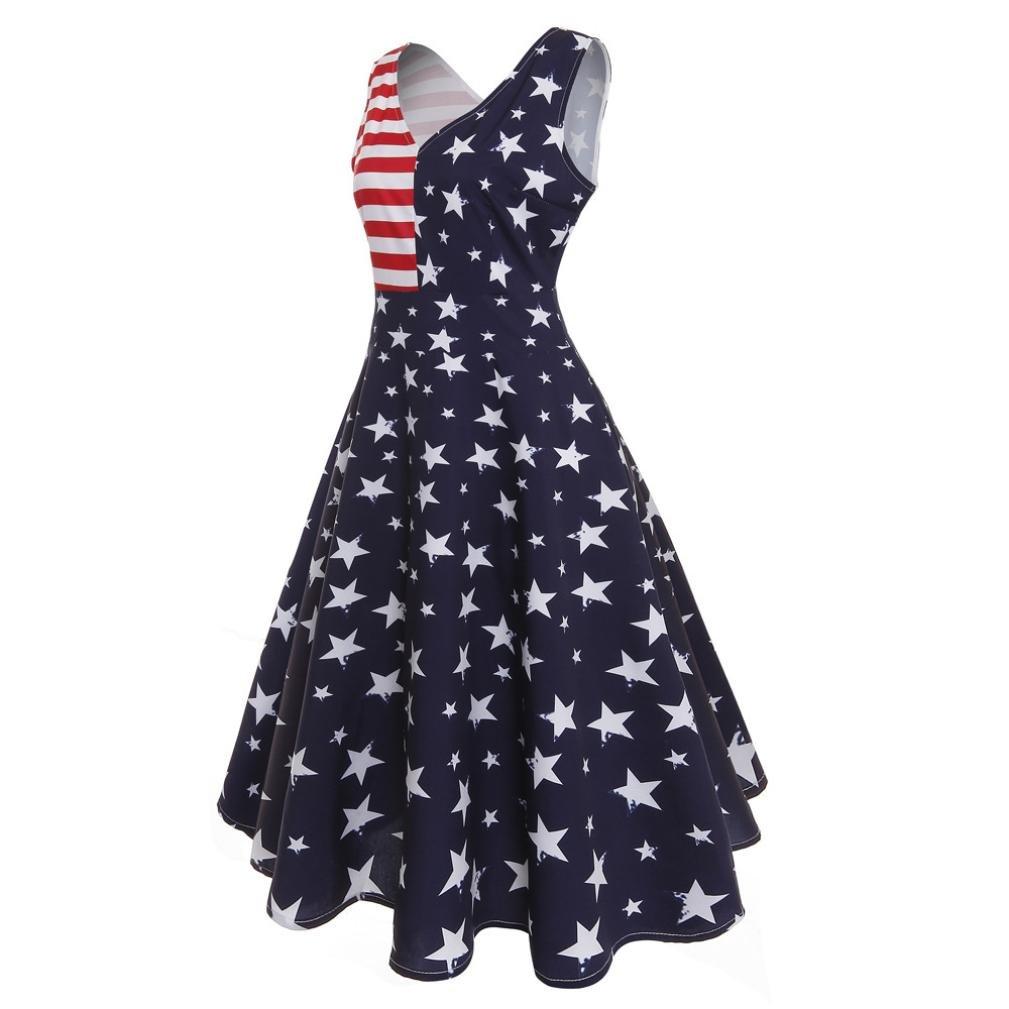 Amazon.com: 2018 Flag Printing Dress KESEELY Clearance Womens Summer Casual Stripe Elastic Waist Loose Beach Midi Dress (M, Blue): Beauty