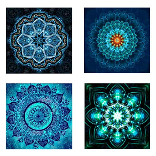 4 Pack 5D DIY Full Drill Rhinestone Diamond Painting Kits Mandala Flower Pattern Embroidery Pictures for Home Art Craft Study Room Cabinet Wall Hanging Decoration ()