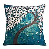 Decorative Pillow Cover - Happytimelol 18 x 18 Square Teal Oil Painting White Flower Black Tree Print Pattern Throw Pillow Cover Decorative Pillow Case