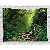 Ambesonne Rainforest Decorations Collection, Forest In Nepal Footpath Wildlife Spring Plant And Stones Moisture Water Print, Bedroom Living Room Dorm Wall Hanging Tapestry, 80W X 60L Inch, Green Brown