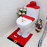 Bettal Christmas Decorations Happy Santa Toilet Seat Cover and Rug Set