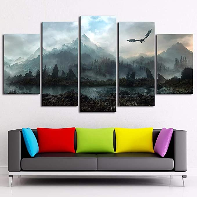 CM Cadre S:10X15-2P 10X20-2P 10X25-1P Lot de 5 Tableaux muraux sur Toile Game of Thrones Dragon Skyrim pour Le Salon
