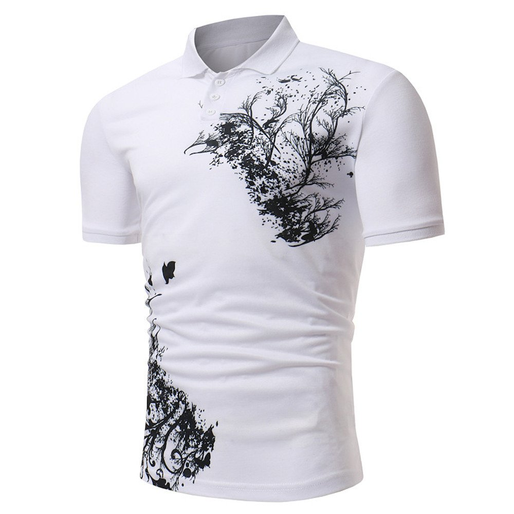 AopnHQ Mens Tops Casual Slim Retro Stand Collar Print Short Sleeve Top Shirt