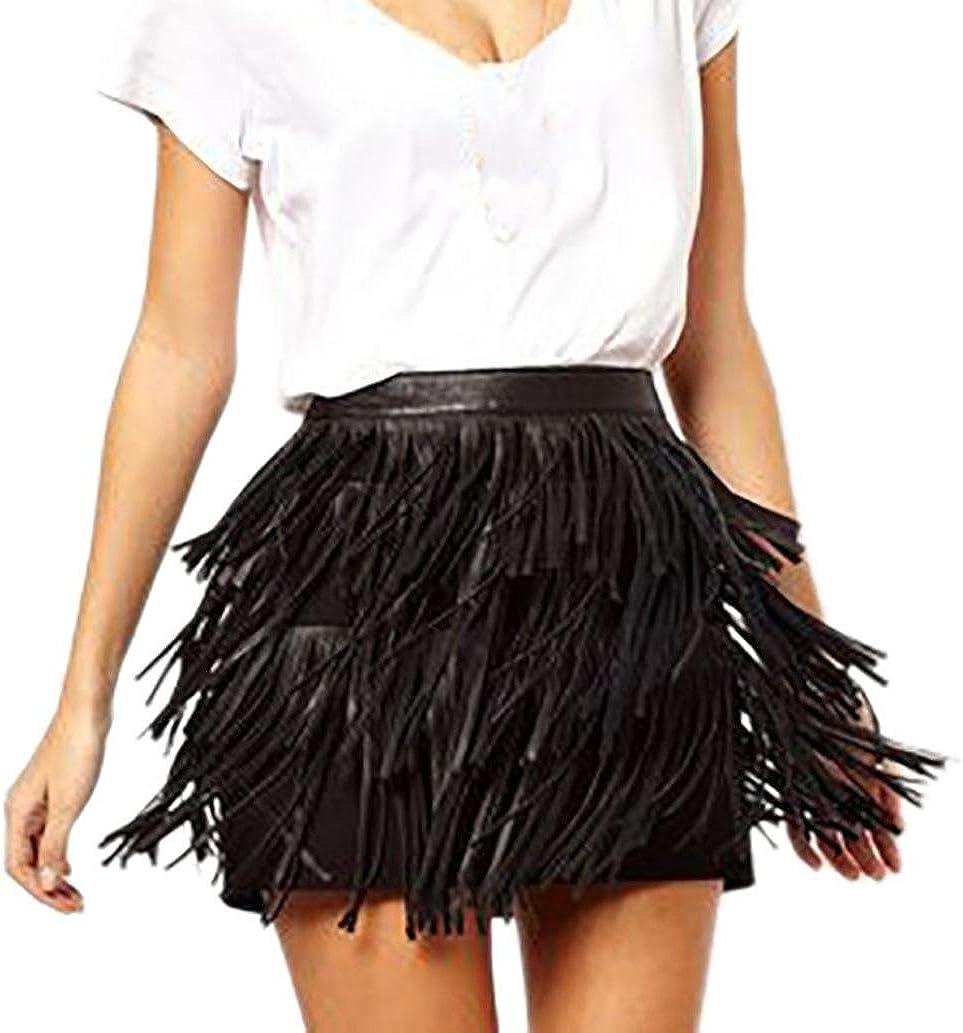 Longra Gonna in Pelle PU Vestito Maxi Decorazione a Frange Abito Donna Cocktail Tubino Mini Vestito Donna Gonna Corta Vita Alta Vestito da Festa Casual Camicetta Casual