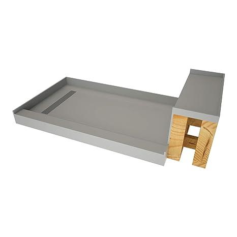 Tile Shower Pan Kit.Tile Redi Usa Rt3048l Bn3 Rb30 Kit Base N Shower Pan And Bench 60 W X 30 D Brushed Nickel