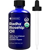 Radha Beauty Rosehip Oil USDA Certified Organic, 4 oz. - 100% Pure & Cold Pressed. All Natural Anti-Aging Moisturizing…